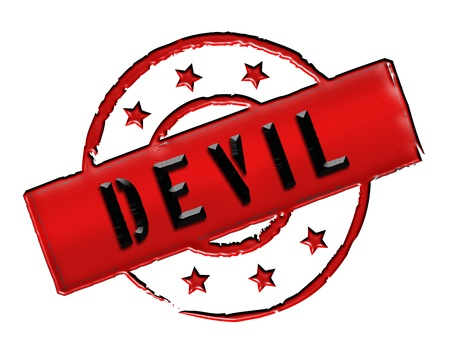 etikett: Sign, symbol, stamp or icon for your presentation, for websites and many more named DEVIL Stock Photo