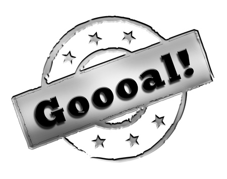 etikett: Sign, symbol, stamp or icon for your presentation, for websites and many more named Goooal! Stock Photo