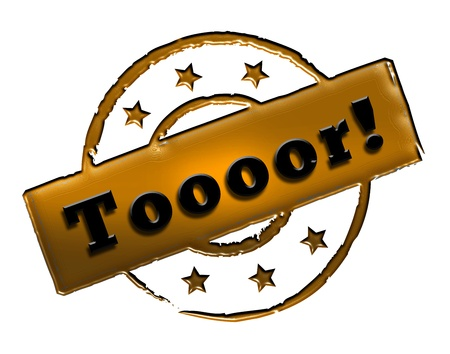 wichtig: Sign, symbol, stamp or icon for your presentation, for websites and many more named Toooor! Stock Photo
