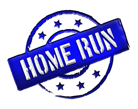 Sign, symbol, stamp or icon for your presentation, for websites and many more named HOME RUN Stock Photo