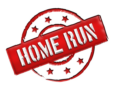 homerun: Sign, symbol, stamp or icon for your presentation, for websites and many more named HOME RUN Stock Photo