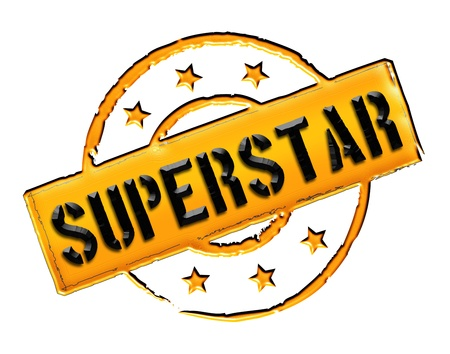 Sign, symbol, stamp or icon for your presentation, for websites and many more named SUPERSTAR
