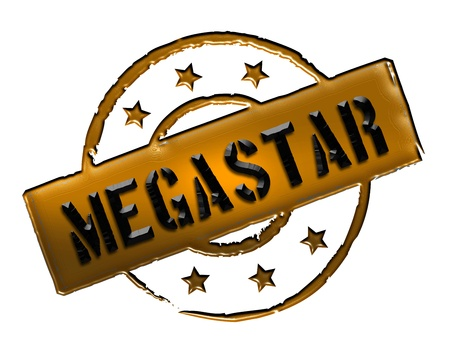 wichtig: Sign, symbol, stamp or icon for your presentation, for websites and many more named MEGASTAR Stock Photo