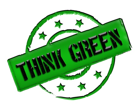 Sign, symbol, stamp or icon for your presentation, for websites and many more named THINK GREEN photo