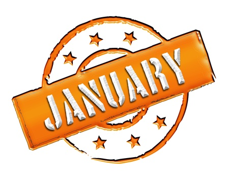 january: Sign, symbol, stamp or icon for your presentation, for websites and many more named JANUARY