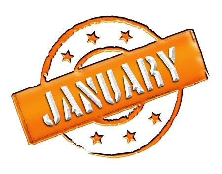 Signo, símbolo, sello o un icono para su presentación, para los sitios web y muchos más nombrado enero Foto de archivo