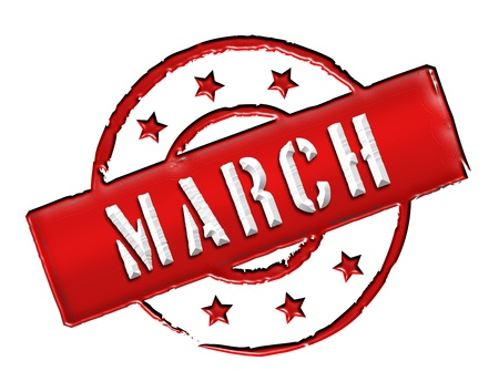 march: Sign, symbol, stamp or icon for your presentation, for websites and many more named MARCH Stock Photo