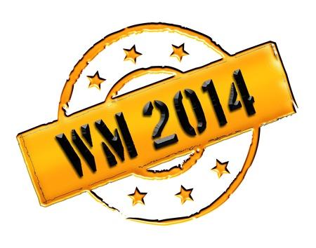 soccer wm: Signo, s�mbolo, sello o icono para su presentaci�n, para los sitios web y muchos m�s llamado WM 2014 Foto de archivo