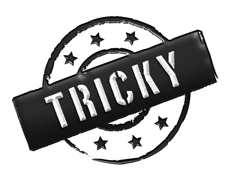 tricky: Sign, symbol, stamp or icon for your presentation, for websites and many more named TRICKY