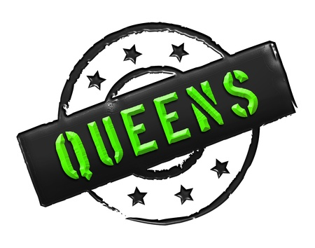 bronx: Sign, symbol, stamp or icon for your presentation, for websites and many more named QUEENS Stock Photo