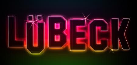 LÜBECK ALS-Illustration im Stil Neon Licht für Präsentationen, Flyer, Web, etc.