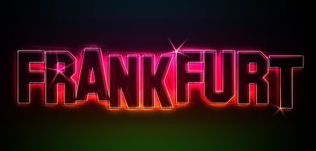 FRANKFURT ALS Illustration im Neon Licht Stil für Präsentationen, Flyer, Web, etc.