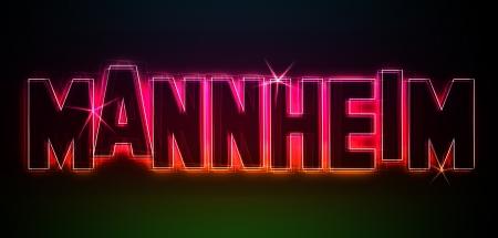 MANNHEIM ALS-Illustration im Stil Neon Licht fr Prsentationen, Flyer, Web, etc