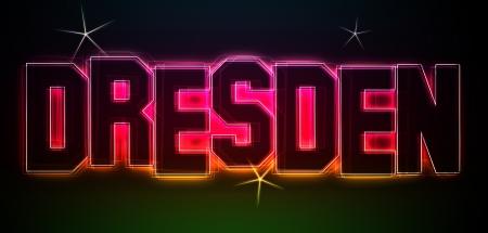 DRESDEN ALS Illustration im Neon Licht Stil fr Prsentationen, Flyer, Web, etc