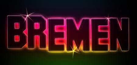 BREMEN ALS Illustration im Neon Licht Stil fr Prsentationen, Flyer, Web, etc