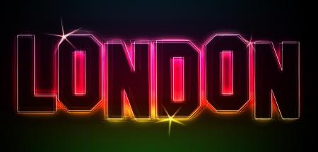 LONDON ALS Illustration im Neon Licht Stil fr Prsentationen, Flyer, Web, etc