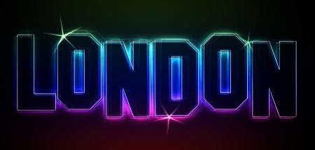 als: LONDON als Illustration im Neon Licht Style f�r Pr�sentationen, Flyer, Web, etc  Stock Photo