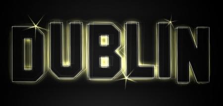 DUBLIN ALS Illustration im Neon Licht Stil fr Prsentationen, Flyer, Web, etc.