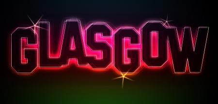 GLASGOW ALS Illustration im Neon Licht Stil fr Prsentationen, Flyer, Web, etc