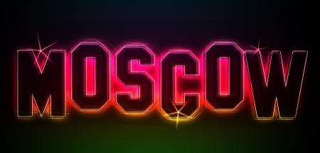 kreml: MOSCOW als Illustration im Neon Licht Style für Präsentationen, Flyer, Web, etc