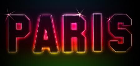 PARIS ALS-Illustration im Stil Neon Licht für Präsentationen, Flyer, Web, etc.