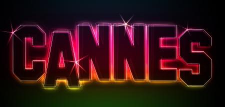 CANNES ALS-Illustration im Stil Neon Licht für Präsentationen, Flyer, Web, etc.
