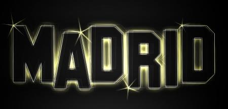 MADRID ALS-Illustration im Stil Neon Licht für Präsentationen, Flyer, Web, etc.