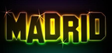 als: MADRID als Illustration im Neon Licht Style für Präsentationen, Flyer, Web, etc.