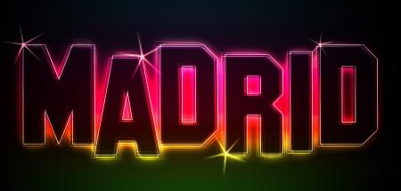 MADRID ALS Illustration im Neon Licht Stil für Präsentationen, Flyer, Web, etc.