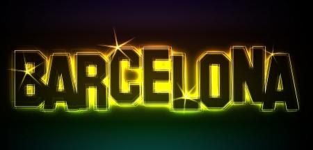 BARCELONA ALS-Illustration im Stil Neon Licht für Präsentationen, Flyer, Web, etc.