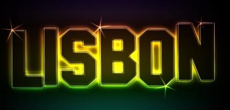 als: LISBON als Illustration im Neon Licht Style f�r Pr�sentationen, Flyer, Web, etc.