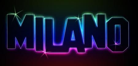 als: MILANO als Illustration im Neon Licht Style f�r Pr�sentationen, Flyer, Web, etc. Stock Photo