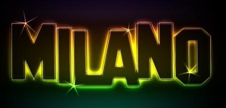 MAILAND ALS-Illustration im Stil Neon Licht fr Prsentationen, Flyer, Web, etc.