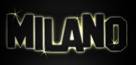 MILANO ALS Illustration im Neon Licht Stil fr Prsentationen, Flyer, Web, etc.