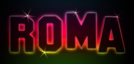 ROMA ALS-Illustration im Stil Neon Licht fr Prsentationen, Flyer, Web, etc.