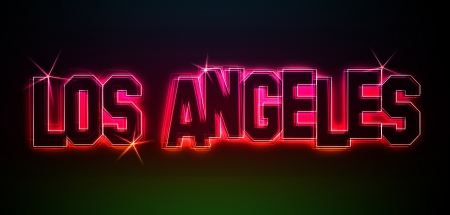 LOS ANGELES ALS Illustration im Neon LED Licht Stil fuer Praesentationen, Flyer, Web, etc.