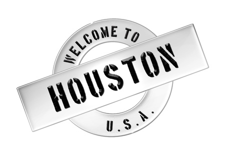 freigestellt: Illustration of WELCOME TO HOUSTON as Banner for your presentation, website, inviting... Stock Photo