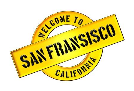 Illustratie van Welkom in San Fransisco als Banner voor uw presentatie, website, met het verzoek