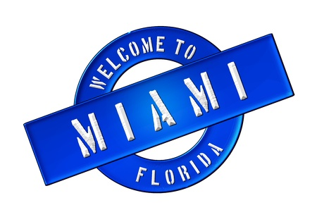 Reisen: Illustration of WELCOME TO MIAMI as Banner for your presentation, website, inviting... Stock Photo