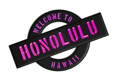 Illustration of WELCOME TO HONOLULU as Banner for your presentation, website, inviting... Stock Photo