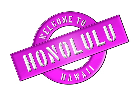Illustration of WELCOME TO HONOLULU as Banner for your presentation, website, inviting    Stock Illustration - 14055602
