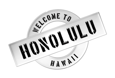 Reisen: Illustration of WELCOME TO HONOLULU as Banner for your presentation, website, inviting