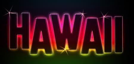 HAWAII ALS Illustration im Neon Licht Stil fr Prsentationen, Flyer, Web, etc