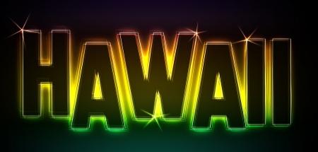 HAWAII als Illustration im Neon Licht Style für Präsentationen, Flyer, Web, etc Stock Illustration - 14055597