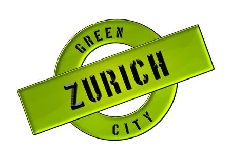 schweiz: GREEN CITY ZURICH - Zeichen, Symbol, Banner fuer Prospekte, Flyer, Internet,     Stock Photo