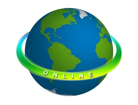 surfen: 3D Illustration der Erde, die immer online ist