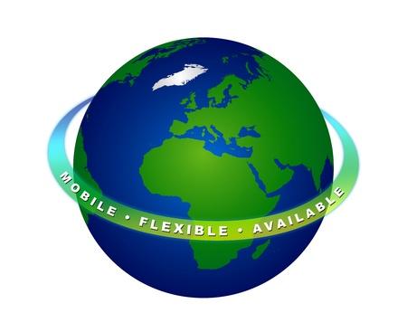 freigestellt: 3D Illustration der Erde, die immer online ist - MOBILE FLEXIBLE AVAILABLE Stock Photo