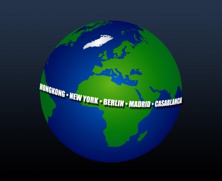 3D-Illustration der Erde, sterben Immer Online ist - Städte Standard-Bild - 14170205