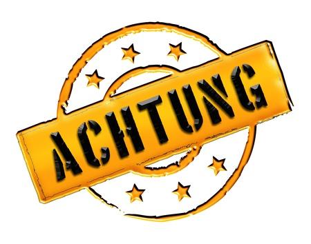 ACHTUNG - Zeichen  Symbol im Retro Stil fuer Praesentationen Stock Photo