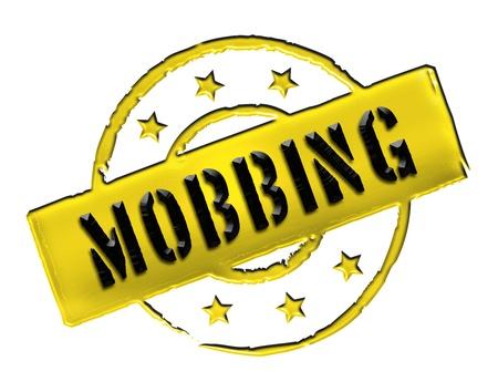 achtung: MOBBING - Zeichen  Symbol in Retro Style